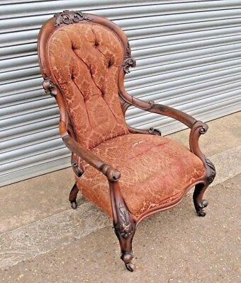 Old antique Louis XV1 style large proportioned throne chair with ceramic castors