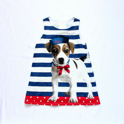 Girls Toddler Sleeveless Striped Dress with dog Size 3T-6 Years (Free Shipping)