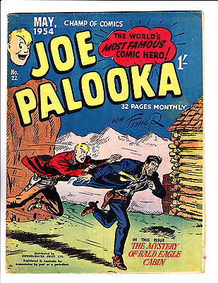 "Joe Palooka No 22 1954 Australian ""The Mystery Of Bald Eagle Cabin Cover ! """