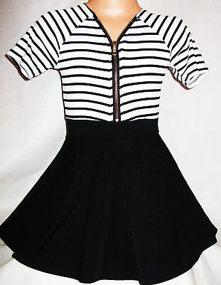 GIRLS BLACK WHITE STRIPE CONTRAST ZIP FRONT SPORTY MINI PARTY DRESS age 5-6
