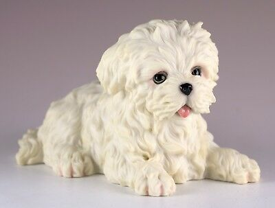 """Maltese Puppy Dog Figurine 4.5"""" Long - Highly Detailed Polystone New In Box"""