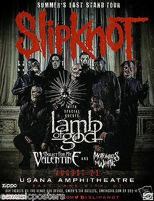 "Slipknot / Lamb Of God ""Summer's Last Stand Tour"" 2015 Salt Lake Concert Poster"