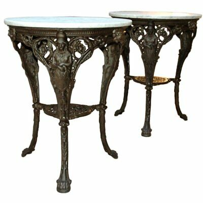 French Cast Iron and Marble Garden Tables