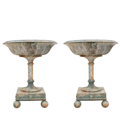 Massive Pair or Cast Iron Urns