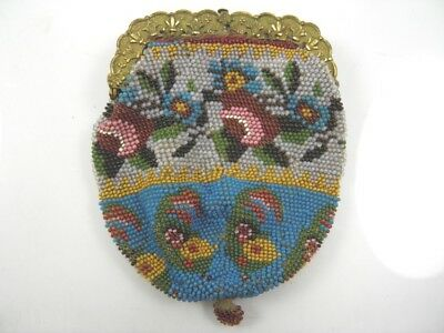 Antique 19th century fine beadwork & gilt metal ladies purse floral design