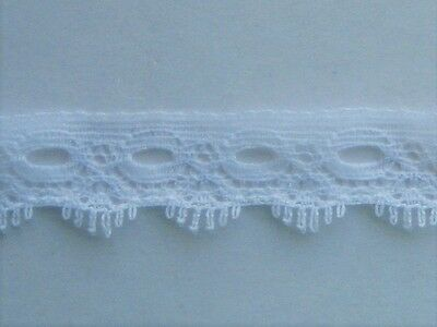 CRAFT-KNITTING EYELET 16mm White One Sided Eyelet Lace(mtr variations available)
