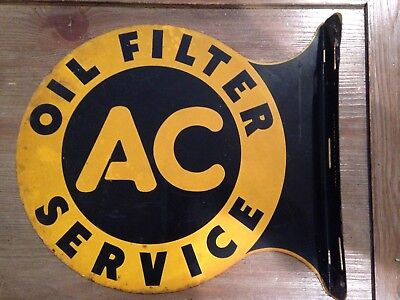 1940 's Ac Oil Filter Service Sign 2 Sided Metal Authentic Vintage