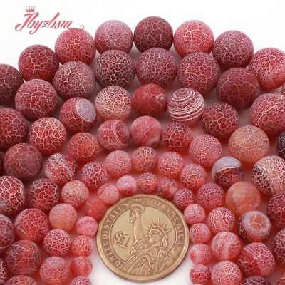 """Red Round Ball Frosted Cracked Agate Stone Loose Beads for Jewelry Making 15""""DIY"""