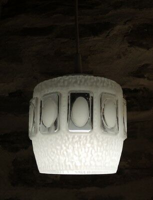 Vintage Mid Century White Frosted Pendant Light Fitting