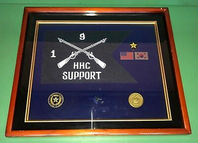 US Military Army 2nd Infantry Division 1/9 Inf HHC Support Wall Award Plaque