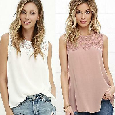Women Chiffon Lace Sleeveless Shirt Loose Fashion Blouse Casual Tank Top Vest LG
