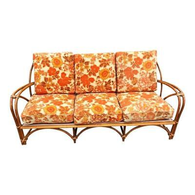 Mid Century Modern BAMBOO SOFA vintage couch settee patio rattan boho frankl 50s