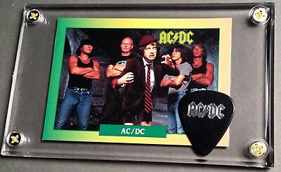 AC/DC Trading card / silver on black 2009 Malcolm Black Ice tour pick display!