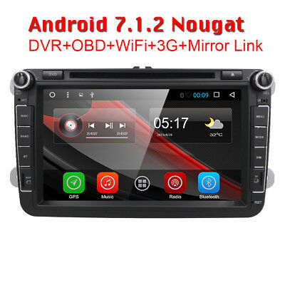 "8"" Autoradio Android 7.1 GPS Navi DVD Bluetooth Wifi SD VW Golf Passat Touran"