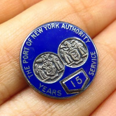 "Vtg Sterling Silver Enamel ""Port Authority New York"" 15 Years Service Pin Brooch"