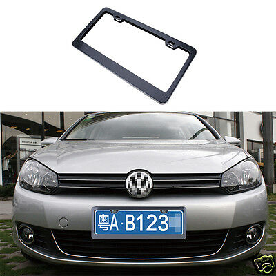 2x Universal Car Carbon Fiber License Plate Frame Tag Cover with 4 Screw Caps w/