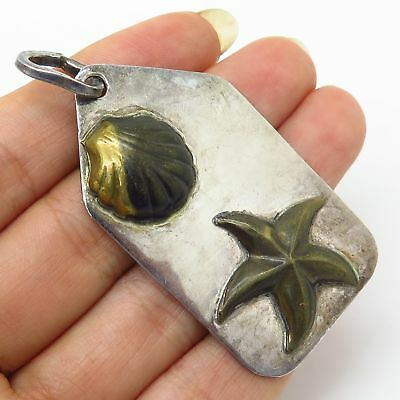 Vtg Mexico 925 Sterling Silver 2-Tone Starfish & Seashell Design Large Pendant
