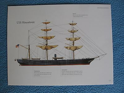 Civil War Union Warship Print - USS HOUSATONIC - SUNK BY THE CSS HUNLEY