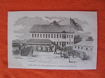 1884 Civil War Print - Camp Scott, at York, Pennsylvania -C MY CIVIL WAR PRINTS