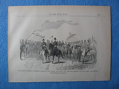 1898 Print of Civil War Etching - Lincoln & Hooker Reviewing Stoneman's Cavalry