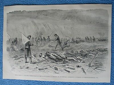 1898 Civil War Print- Union Forces Burying Dead, In Front of Jackson's Batteries