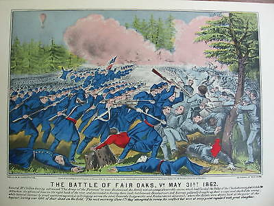 Currier & Ives Civil War Lithograph - Battle of Fair Oaks, VA - Nice Gift Framed