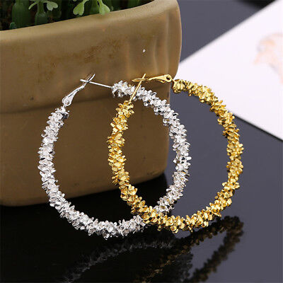 2018 Women Gold Silver Large Big Hoop Loop Earrings Circle Chic Hoops Jewelry