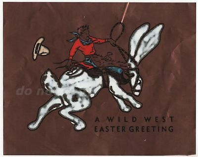 Cowboy Rides Bucking Bunny Rabbit Wild West Easter Greeting Copper Foil Vintage