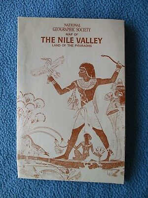 "1965 Map of the ""Nile Valley, Land of the Pharaohs"" - Many Sites & Information"