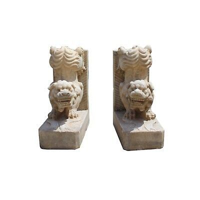 Chinese Pair Distressed Brown White Stone Fengshui Foo Dog Statues cs4258