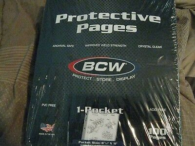 1 Box of 100 sheets of BCW  8.5  x 11 1 Pocket Photo or Magazine Binder Pages