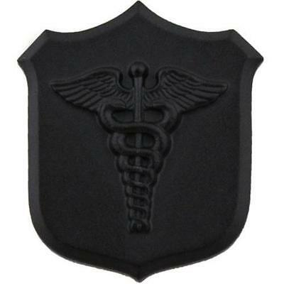 Navy Collar Device Pin Black  Shield With Caduceus     New  (Made In Usa)