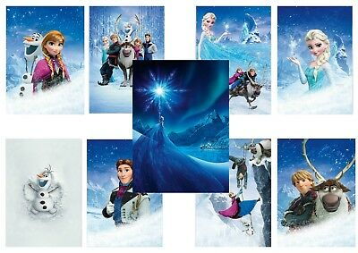FROZEN  Elsa  Anna  Olaf  Kristoff  Hans  Sven  Textless A5 A4 A3 Movie Posters