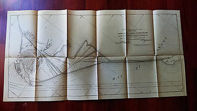 1913 Panama Canal Sketch Map Naos Island Breakwater Proposed Shops Drydocks