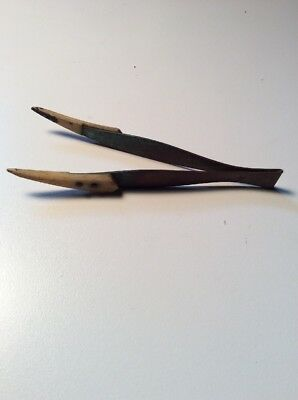 Antique/Primitive solid copper And Bone tweezers Rare Very Unique Looooook!