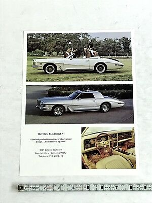 1974 Stutz Blackhawk Vi  Dealer Sales Brochure Original