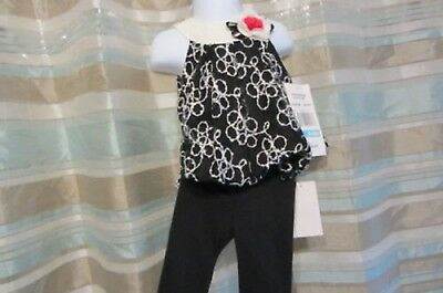RARE EDITIONS 3-6 MOS TWO PC SET BUBBLE TOP & LEGGINGS BABY GIRL NWT Retail $50