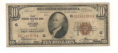 1929 $10 Chicago Federal Reserve Bank Note Brown Seal