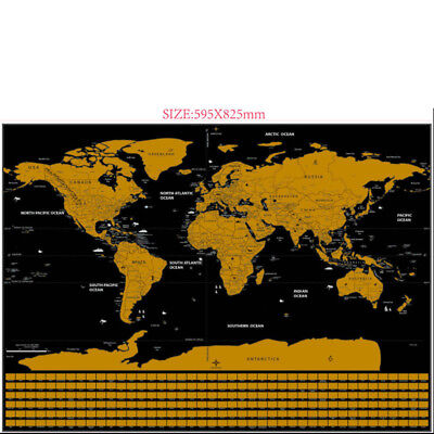 Deluxe World Map Travel National Flag Scratch Off World Map Poster 82.5x59.5cm