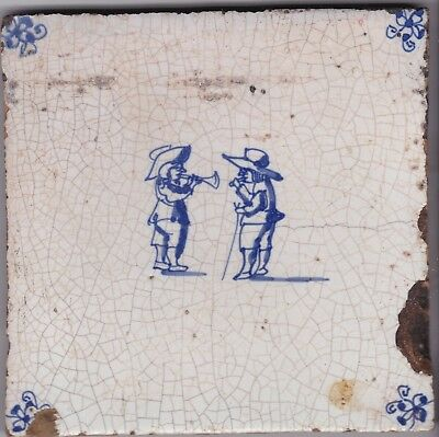 Delft Tile c. 18th / 19th century   (D 9)      Man with horn & man with staff