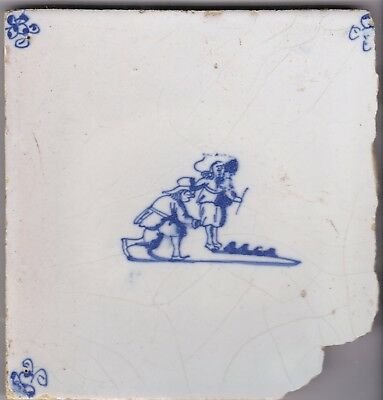 Delft Tile c. 18th / 19th century   (D 11)        men playing a game