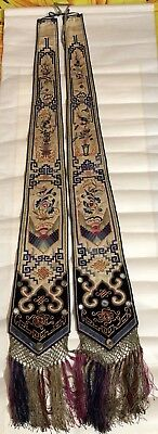 Antique Chinese Pair Qing Dynasty Silk Embroidery Sash Panel Wedding Robe Tassel