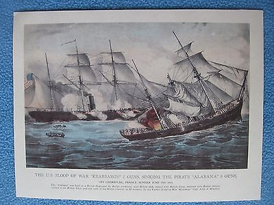 1968 Currier & Ives Civil War Print - Kearsarge Sinking CSS Alabama, June 1864