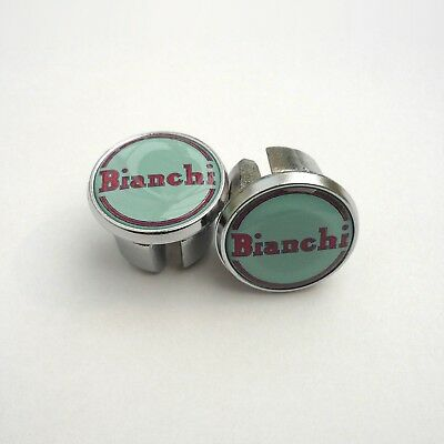 Vintage Style 'Bianchi' 1950s, 60s, Chrome Racing Bar Plugs, Caps, Repro