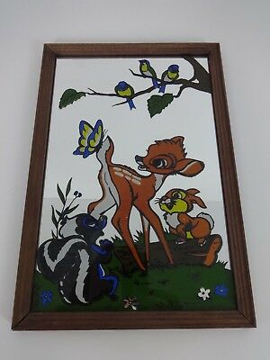 Vintage Bambi Picture Mirror Disney Film Collectible Rectangle Cartoon Mirrored
