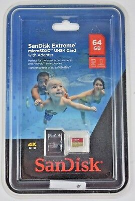 SanDisk Extreme 64gb microSDXC UHS-I Memory Card With Adapter 4k UHD New