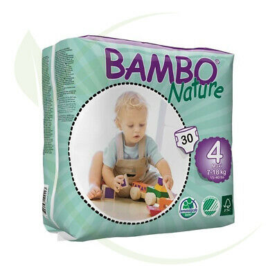 Bambo Nature Maxi ~ 7 - 18kg Nappies (Size 4)  Biodegradable & Baby Friendly ...