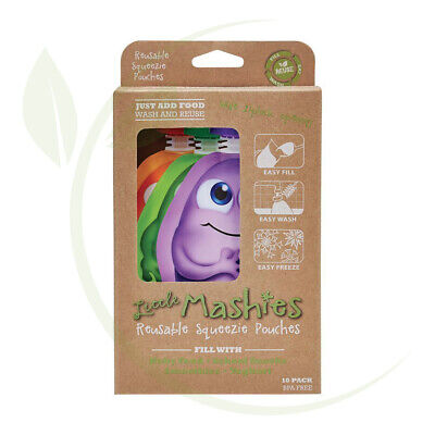 Reusable Squeeze Pouch Pack of 10 - Mixed Colours 10x130ml
