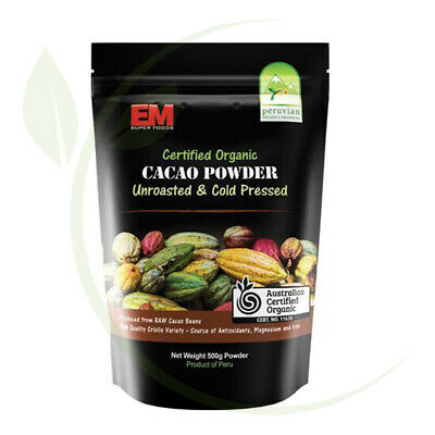 Em Superfoods Organic Cacao Powder Unroasted +Cold Pressed 500g