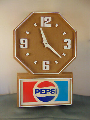 Plastic Pepsi Cola clock wall mount brown battery operate bar workshop MCM art